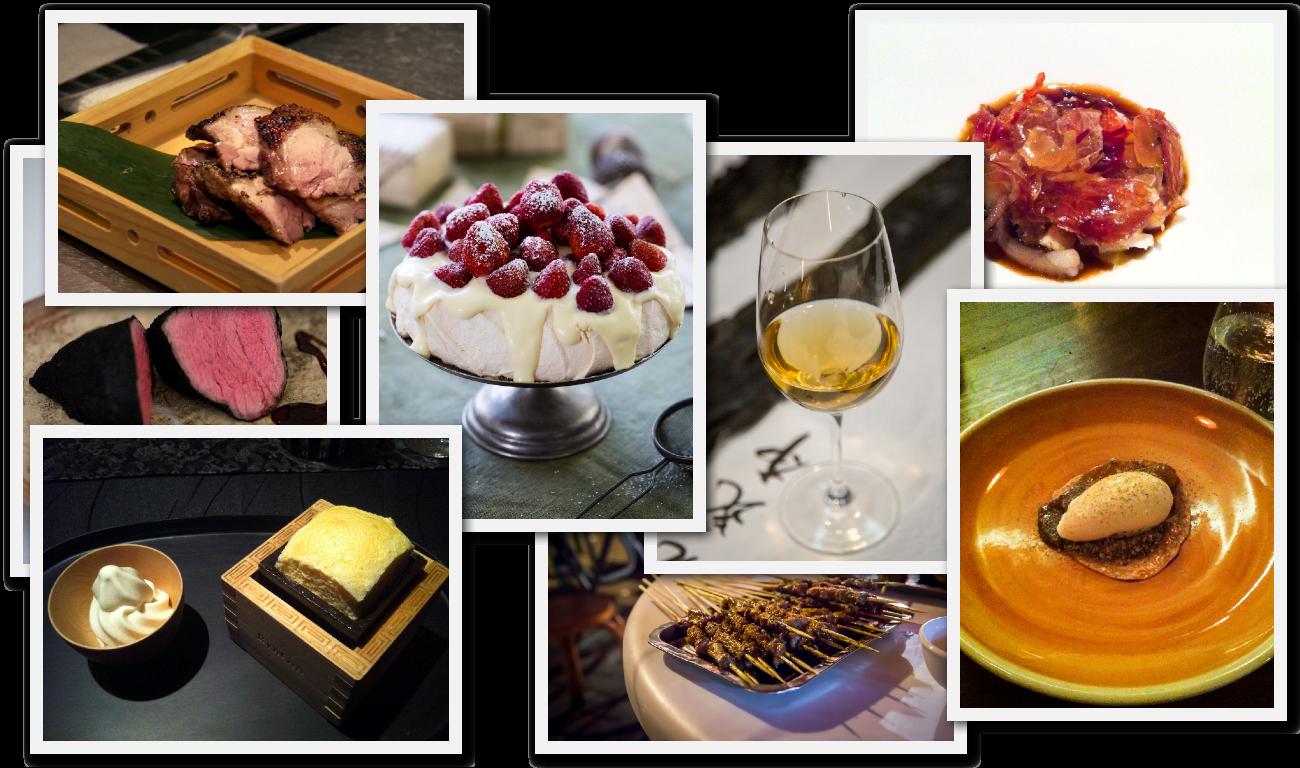 (L to R) Sumi 2009, Sake souffle, Binchotan-grilled Nagoya cochin with yuzu kosho, White chocolate and strawberry pavlova (Christmas Lunch), Yang rou chuan, 25-year aged kombu stock, XO Sea, Candied pumpkin and rice ice cream.