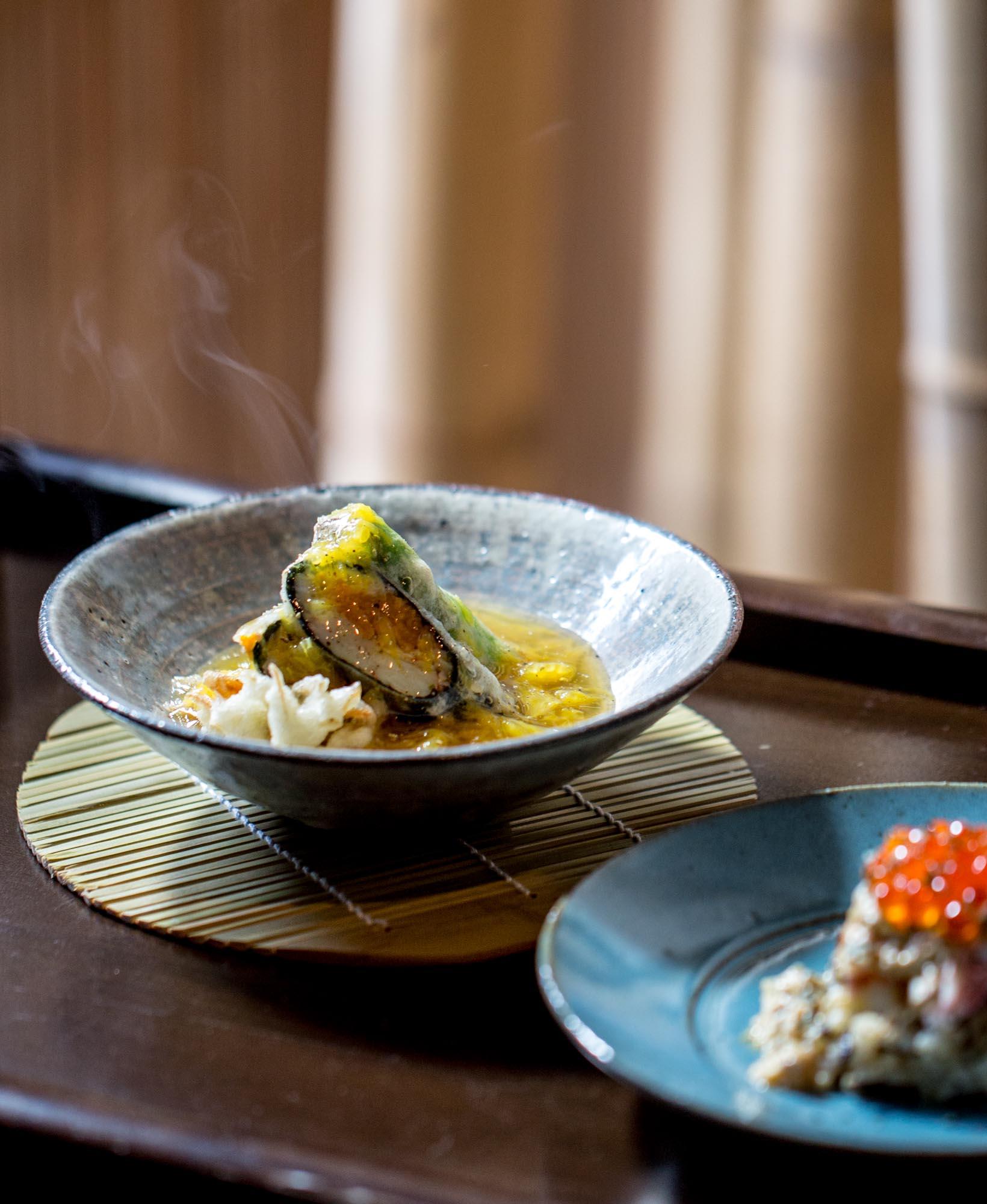 Hairy crab and sea urchin nori roll with orange ankake - Kappo Okada, Hokkaido