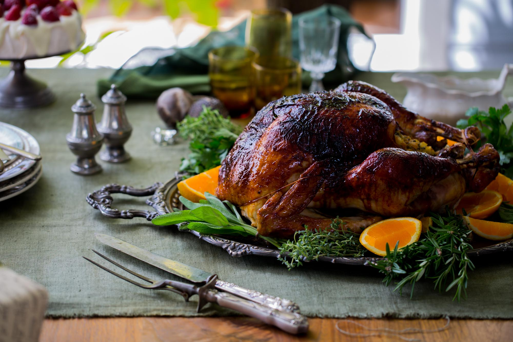 Hot orange-glazed turkey with Scarborough Fair stuffing - Christmas Lunch 2013