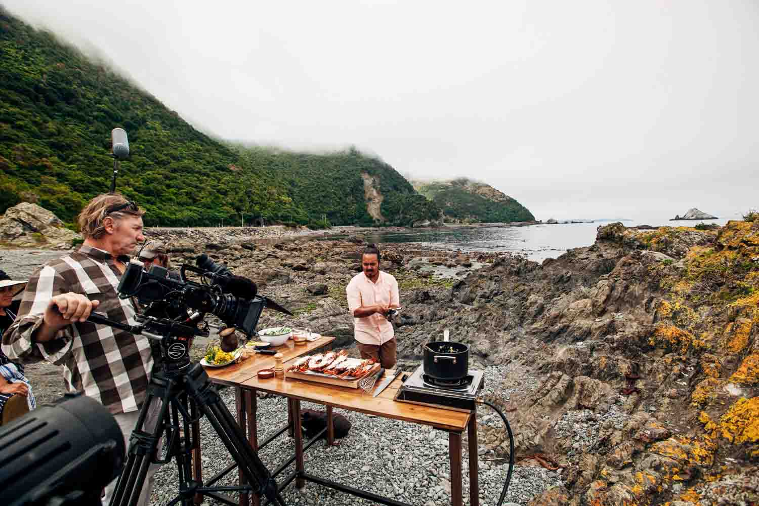 Cooking crayfish in Kaikoura, New Zealand.