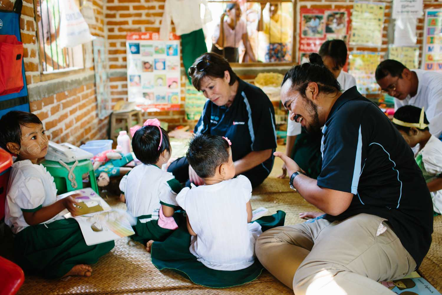 With kids in a UNICEF-supported school, Thet Ke Kan Village, Myanmar.