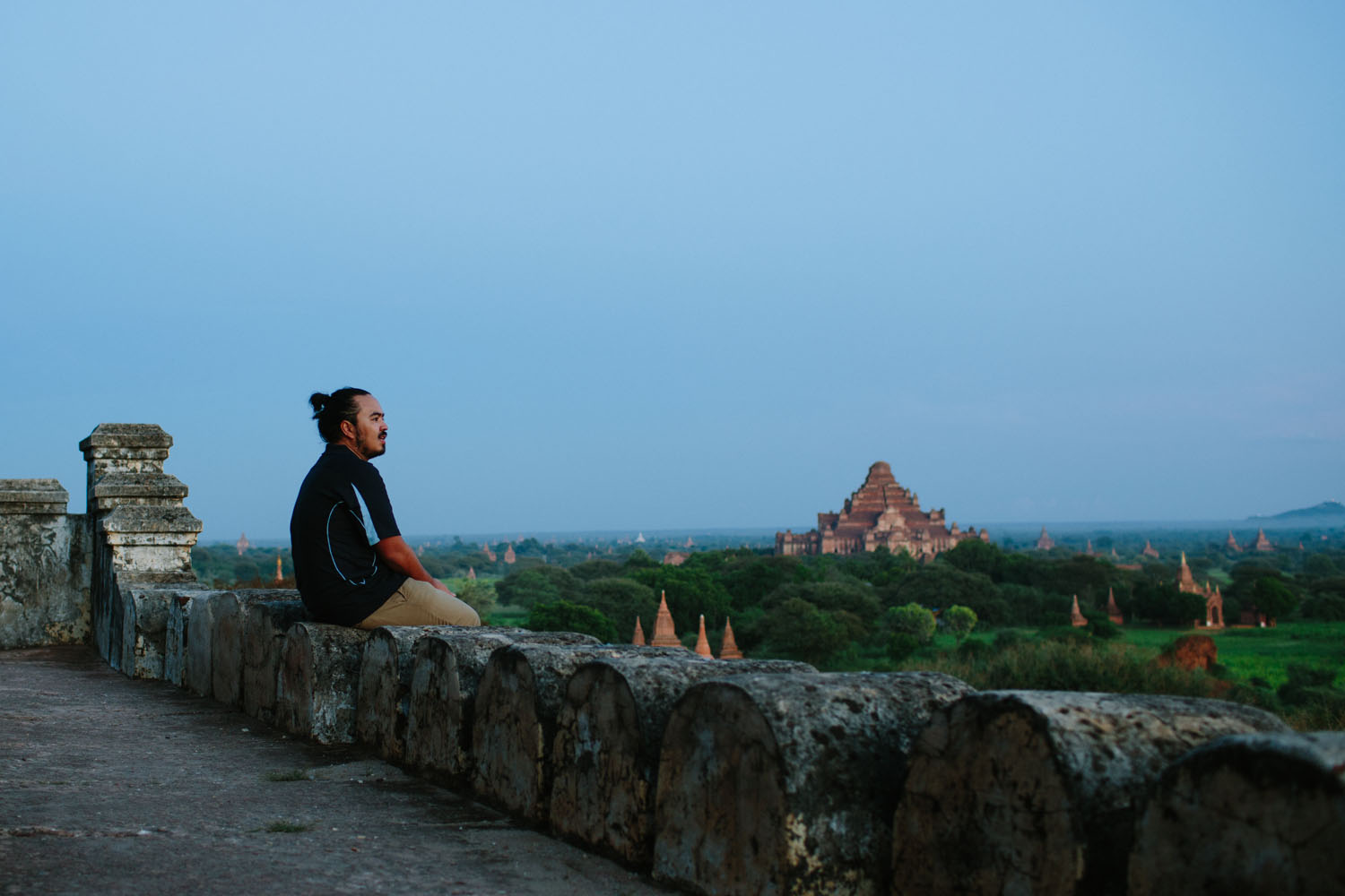 Temples at dusk in Bagan, Myanmar.